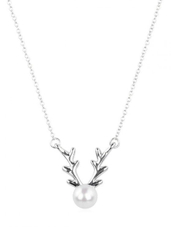 fashion Elegant Faux Pearl Elk Pendant Necklace - SILVER