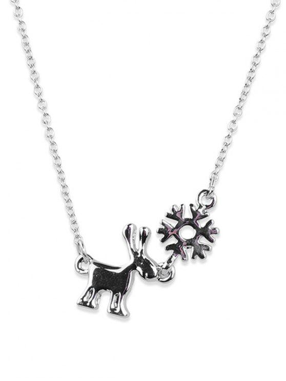 chic Christmas Elk Alloy Pendant Necklace - SILVER