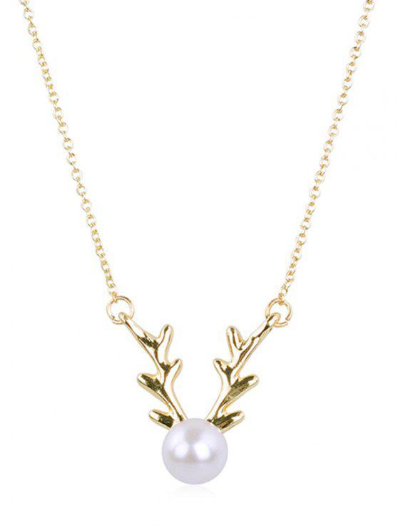 fancy Elegant Faux Pearl Elk Pendant Necklace - GOLD