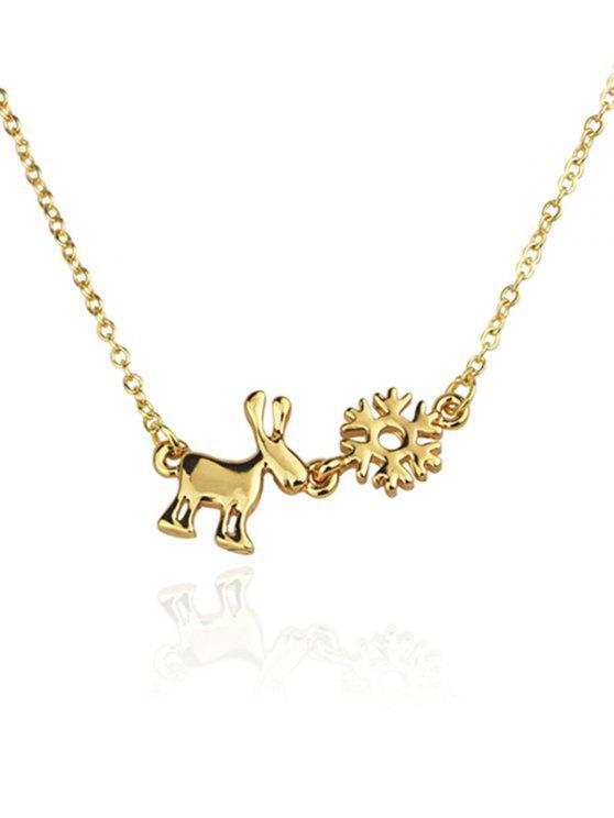women Christmas Elk Alloy Pendant Necklace - GOLD