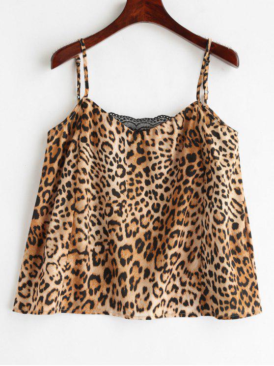 trendy Lace Panels Leopard Cami Top - LEOPARD S