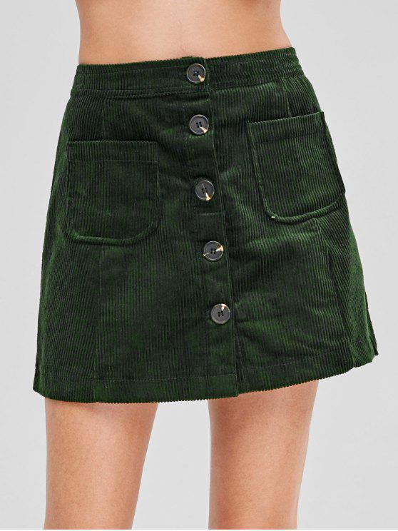 fashion Button Up Mini Corduroy Skirt - DARK GREEN M
