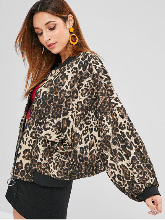 Leopard Drop Schulter Jacke - Leopardenmuster Eine Größe