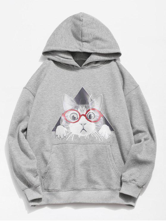 lady Cat Pattern Print Hoodie - GRAY CLOUD M
