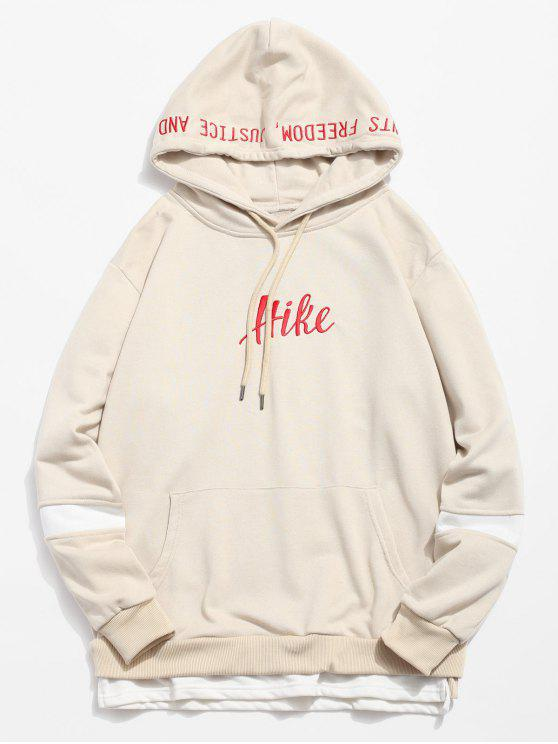 new Side Split Embroidery False Two Piece Hoodie - LIGHT BROWN M