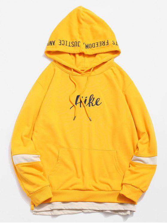 shop Side Split Embroidery False Two Piece Hoodie - YELLOW M