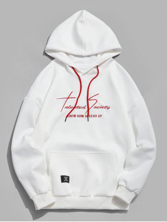affordable Kangaroo Pocket Letter Print Sweatshirt - WHITE L