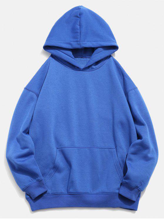 Sweat à Capuche Koi Imprimé avec Poche en Avant - Bleu Myrtille 2XL