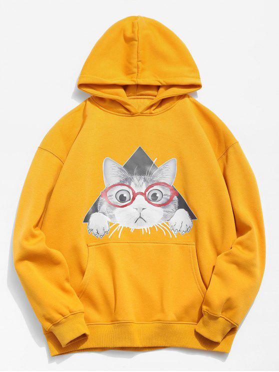 Sweat à capuche motif chat - Jaune Clair M