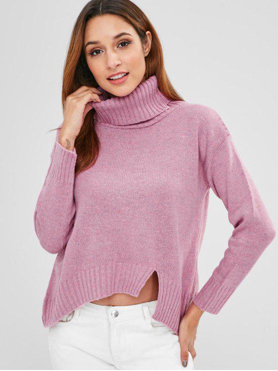 Suéter de cuello alto recorte - Rosa Brillante Talla única