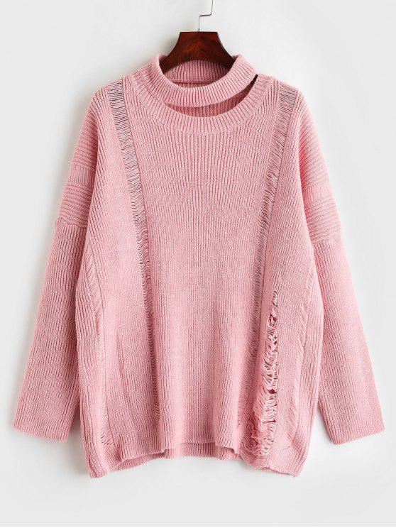 Maglione Plus Size Strappato - Rosa Suino L