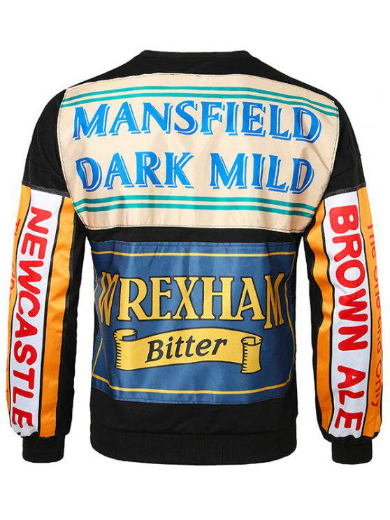 trendy Back Letter Crew Neck Sweatshirt - BLACK XL