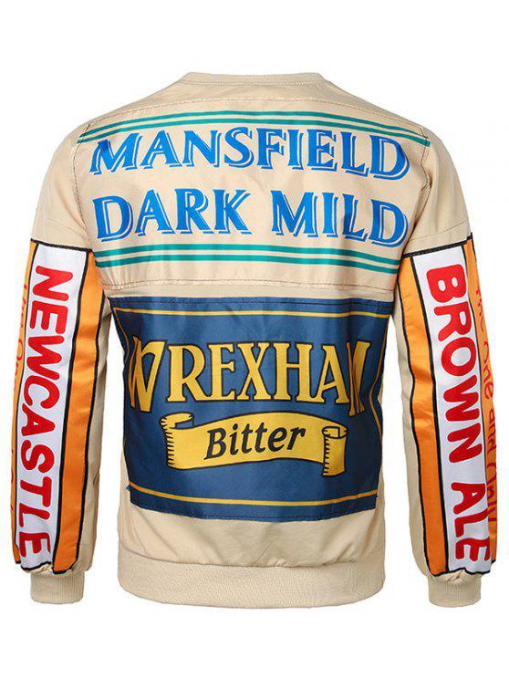 sale Back Letter Crew Neck Sweatshirt - VANILLA XL