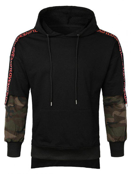 hot Letter Camo Sleeve Pullover Hoodie - BLACK M