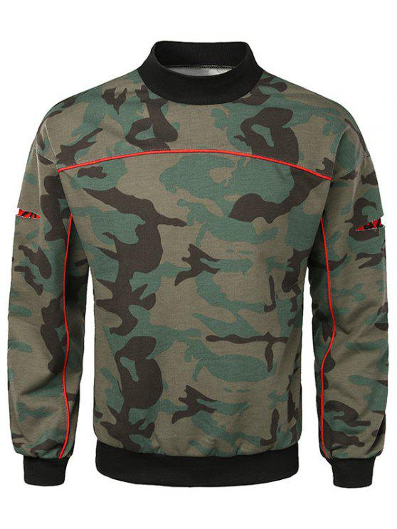 outfit Casual Lay Open Sleeve Camouflage Sweatshirt - CAMOUFLAGE GREEN M