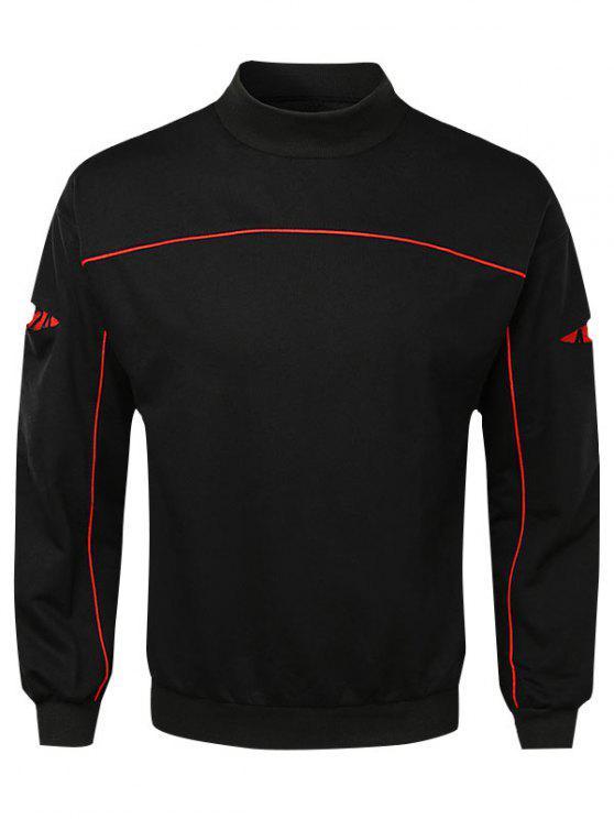 shop Casual Lay Open Sleeve Camouflage Sweatshirt - BLACK XL