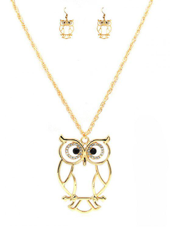 trendy Cartoon Owl Alloy Pendant Necklace and Earrings Suit - GOLD