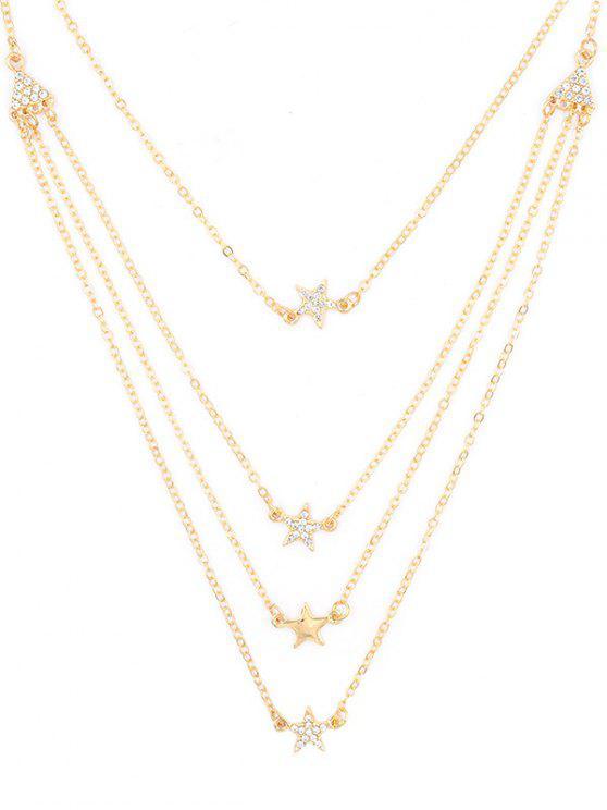 fashion Rhinestone Star Multi Layers Elegant Necklace - GOLD
