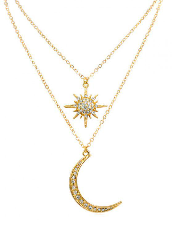 chic Stylish Star Moon Rhinestone Pendant Necklace - GOLD