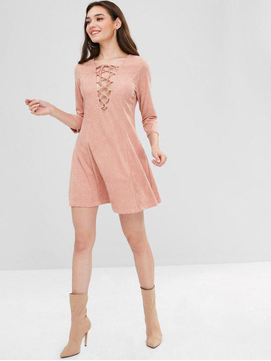 ZAFUL Lace Up Mini vestido de camurça do falso - Rosa Laranja L
