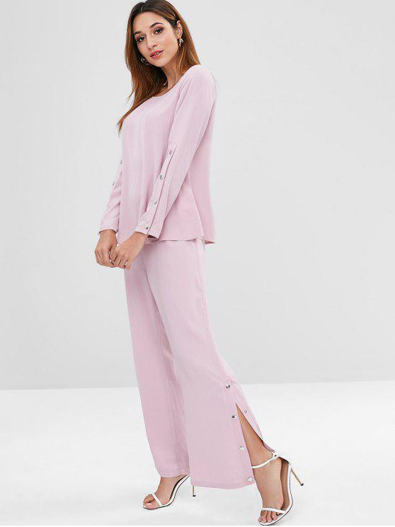 lady ZAFUL Snap Button Top and Pants Set - PINK L