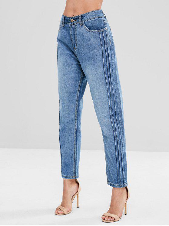 Jeans com zíper plissado - Jeans Azul M