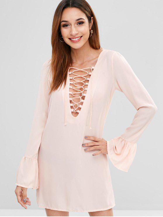 affordable Flare Sleeve Lace-up Mini Dress - LIGHT PINK XL