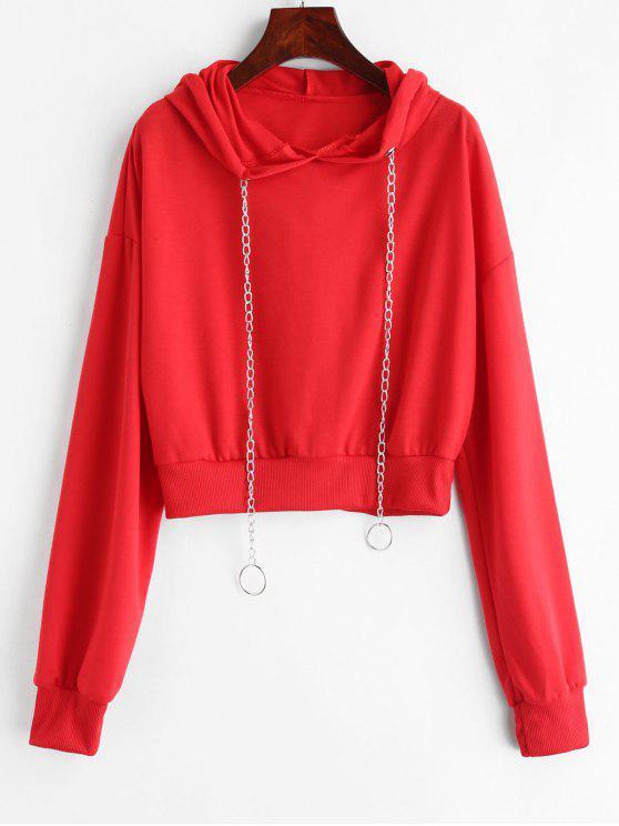 fashion Chains Drawstring Crop Hoodie - RED XL