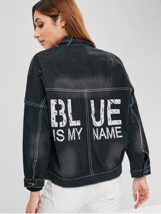 best Letter Drop Shoulder Distressed Denim Jacket - BLACK M
