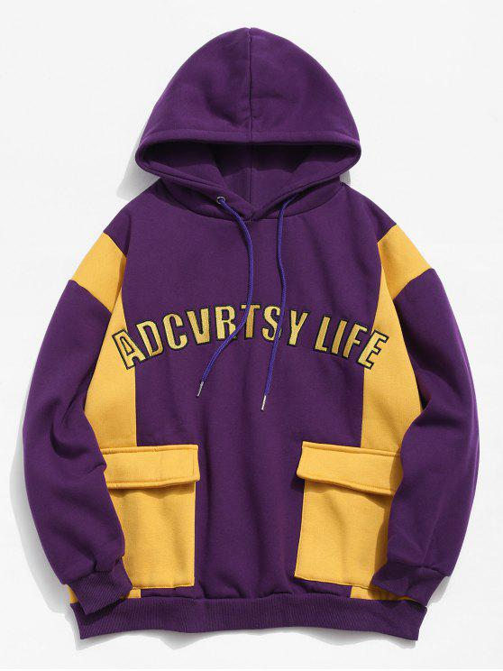 women's Fleece Lined Color Block Pockets Letter Hoodie - PURPLE XL