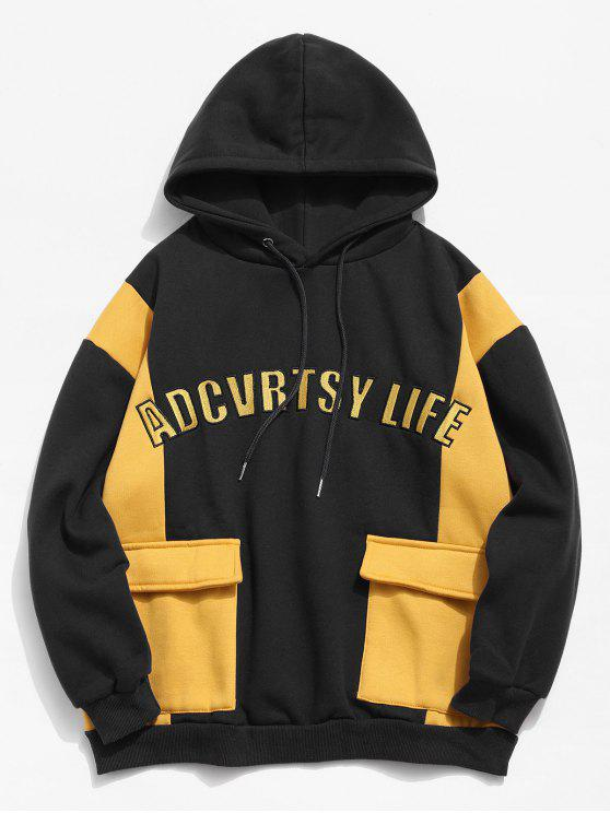 fancy Fleece Lined Color Block Pockets Letter Hoodie - BLACK M