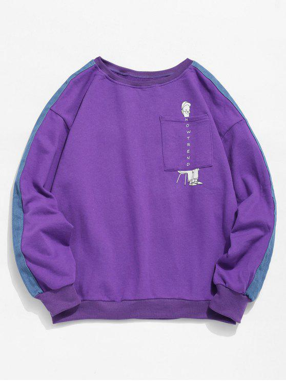 chic Denim Trim Cartoon Pocket Sweatshirt - PURPLE L