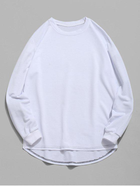 women Solid Color High Low Sweatshirt - WHITE M