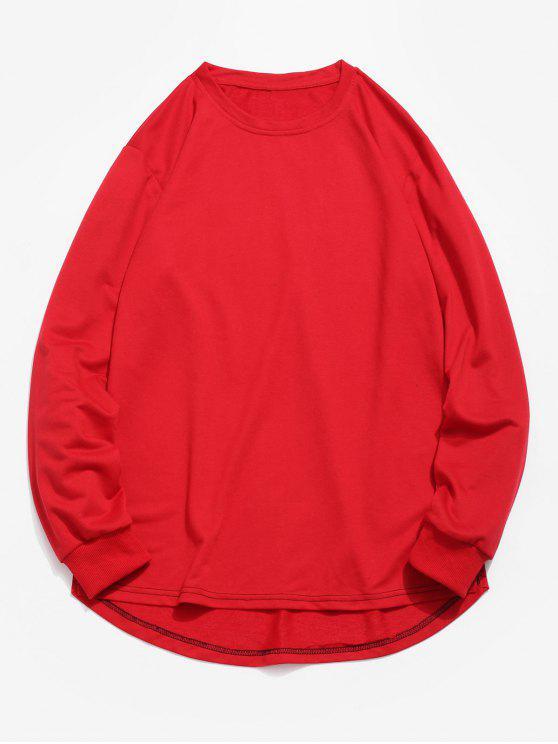 ladies Solid Color High Low Sweatshirt - RED XS