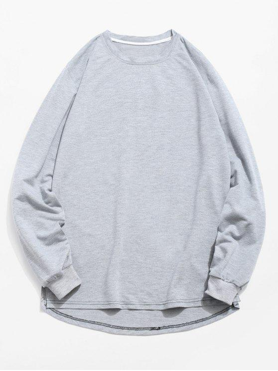 fancy Solid Color High Low Sweatshirt - GRAY M
