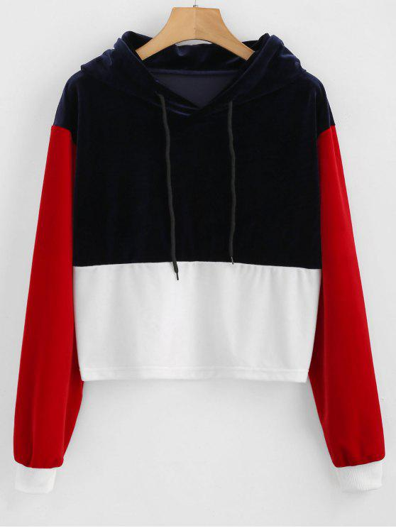 lady ZAFUL Color Block Velvet Hoodie - MULTI L