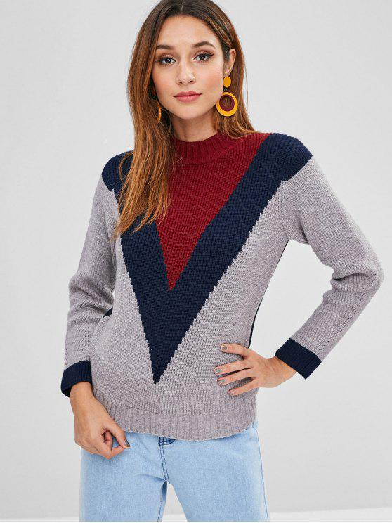 latest ZAFUL Color Block Sweater - MULTI ONE SIZE