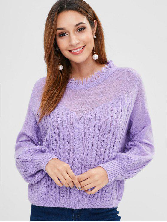 fashion ZAFUL Frayed Cable Knit Sweater - MAUVE ONE SIZE