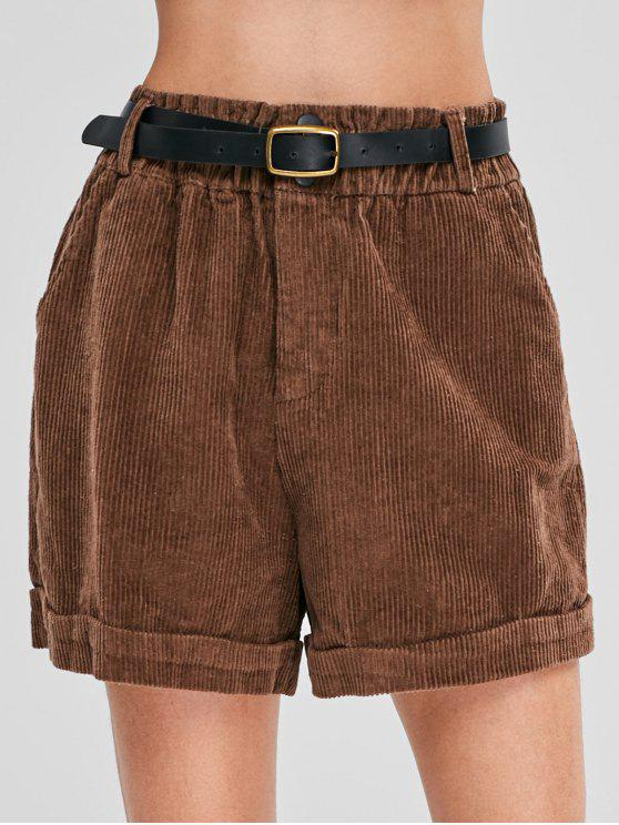 new Loose Zipper Belted Corduroy Shorts - COFFEE M