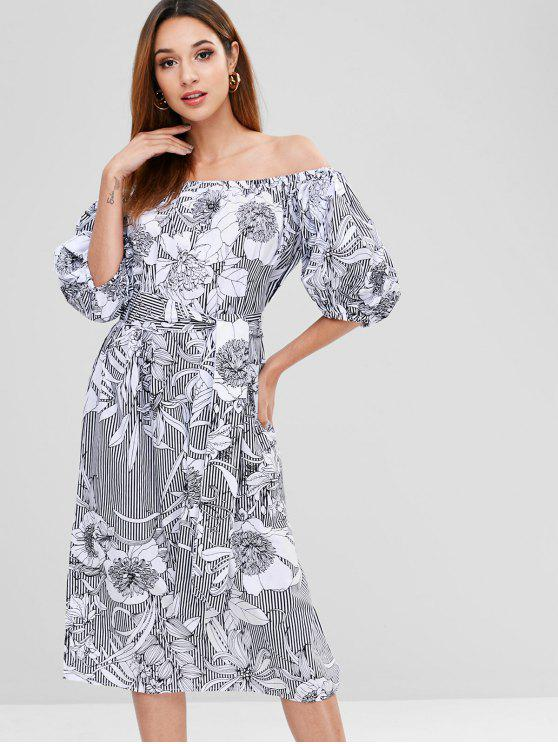 outfits Puff Sleeve Flower Print Shift Belted Dress - WHITE M