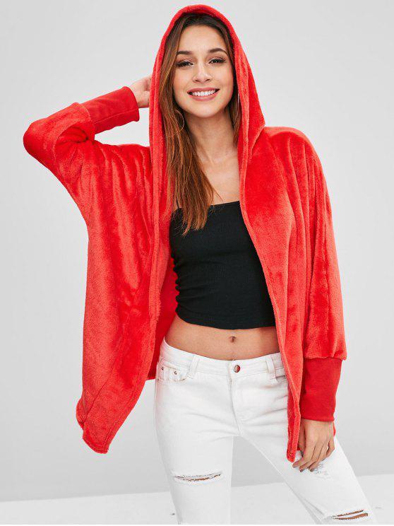 sale Hooded Open Front Dolman Fleece Coat - RED L