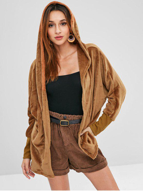 womens Hooded Open Front Dolman Fleece Coat - BROWN L