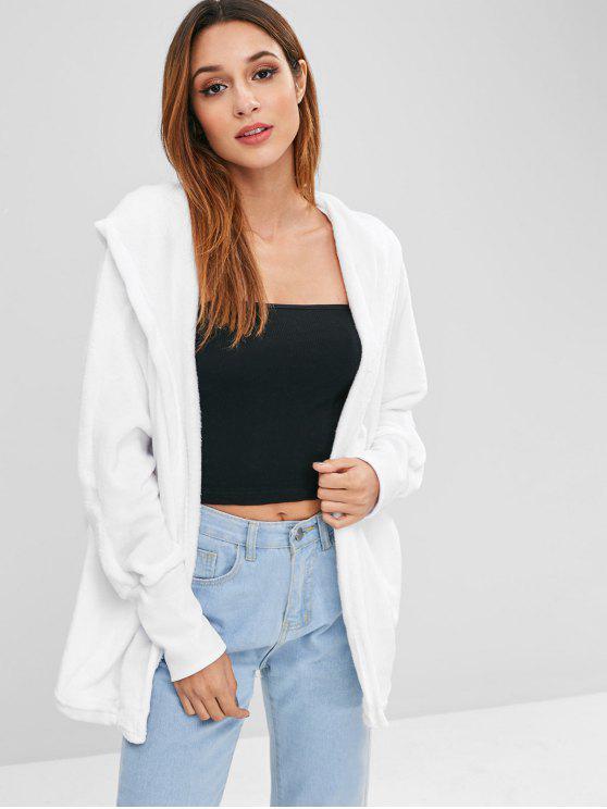 shops Hooded Open Front Dolman Fleece Coat - WHITE XL