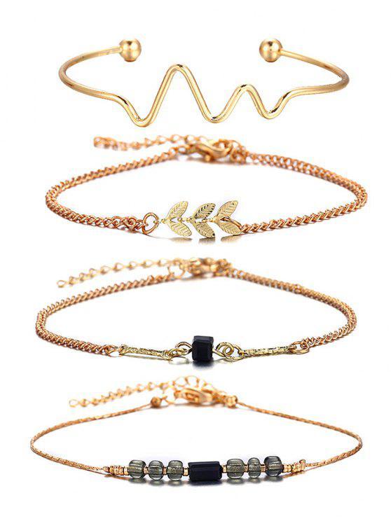 affordable 4 Pcs Wave Feather Beaded Alloy Bracelet Set - GOLD