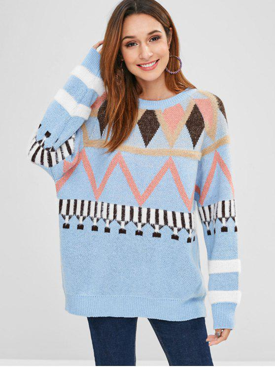 womens Longline Geometric Graphic Sweater - LIGHT BLUE ONE SIZE