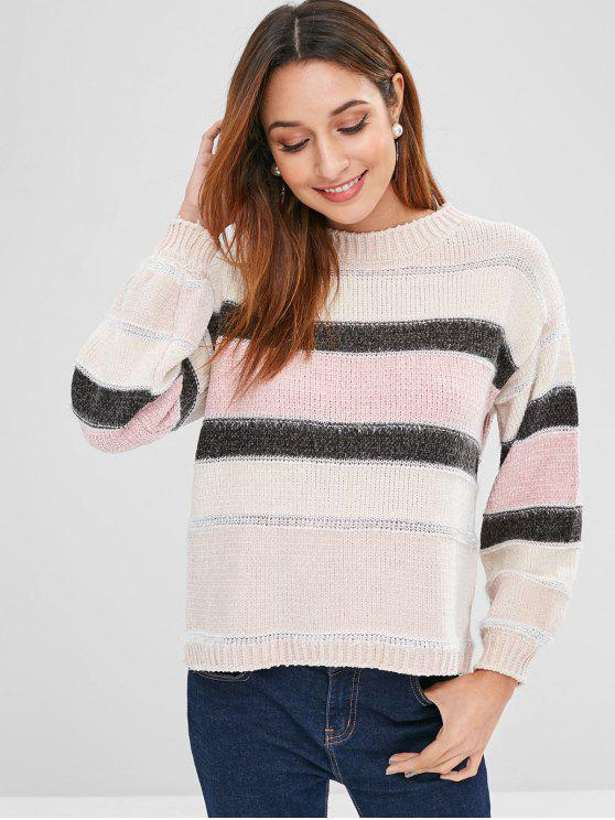 chic Color Block Shiny Sweater - MULTI ONE SIZE