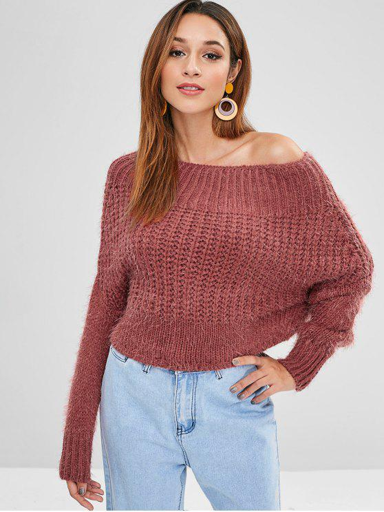 buy Plain Batwing Off Shoulder Sweater - LIGHT CORAL ONE SIZE