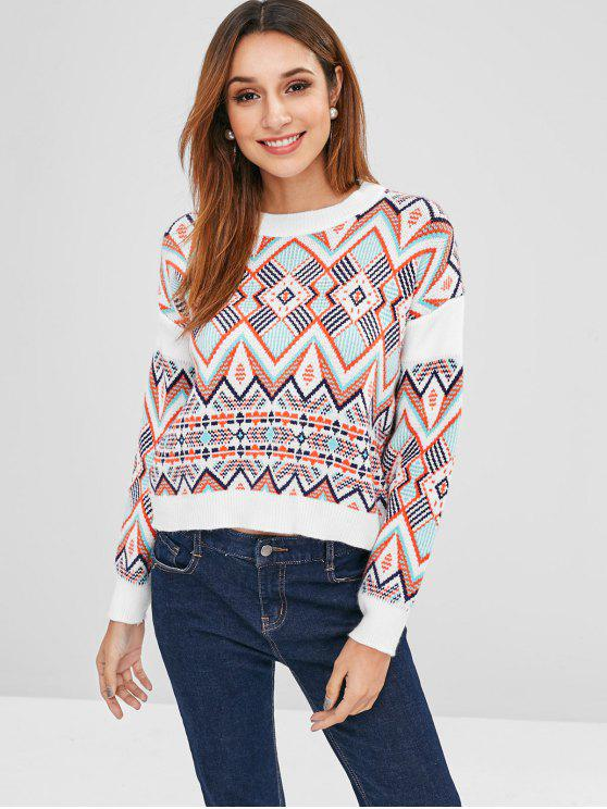 lady Geometric Graphic Loose Fitting Sweater - MULTI ONE SIZE