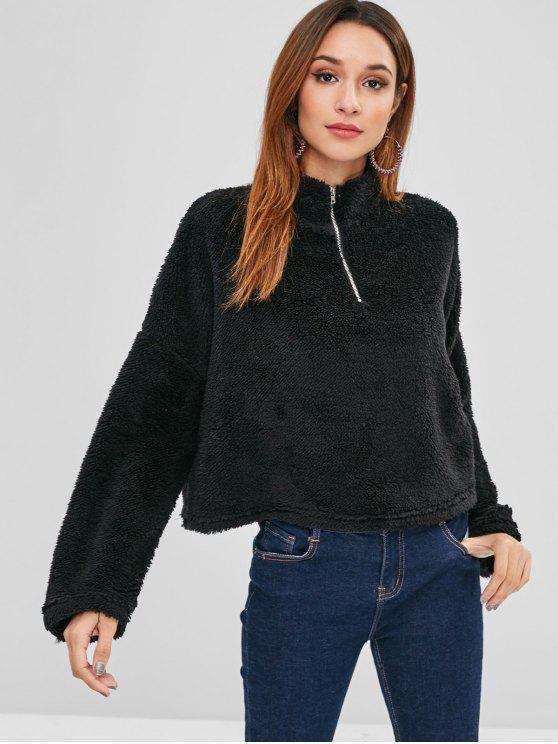 sale Drop Shoulder Fleece Pullover Sweatshirt - BLACK XL