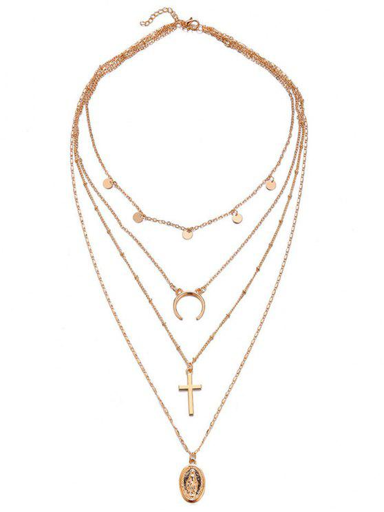 buy Multi Layered Crescent Moon Cross Necklace - GOLD